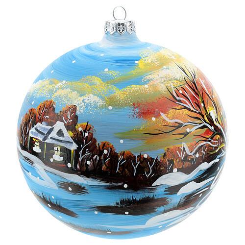 Bola natalina paisagem de inverno 150 mm 2