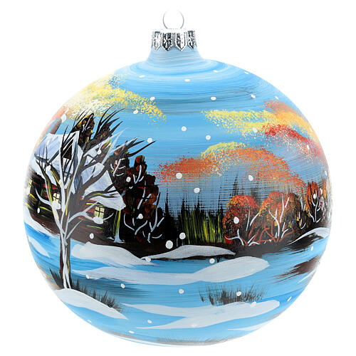 Bola natalina paisagem de inverno 150 mm 3