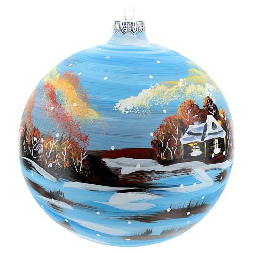 Bola natalina paisagem de inverno 150 mm 4