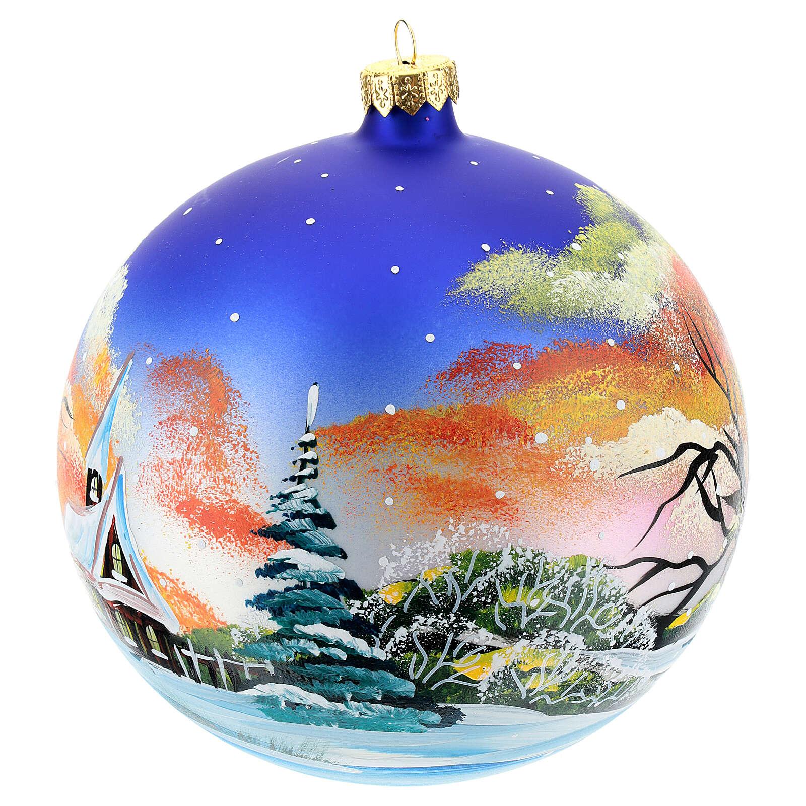 Bola árvore Natal paisagem com neve no pôr do sol 150 mm 4