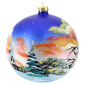Bola árvore Natal paisagem com neve no pôr do sol 150 mm s3