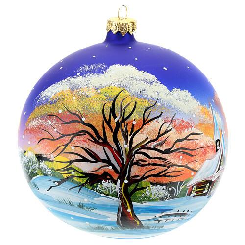 Bola árvore Natal paisagem com neve no pôr do sol 150 mm 2