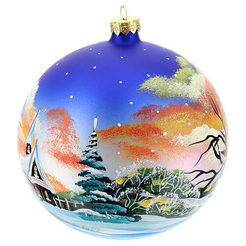 Bola árvore Natal paisagem com neve no pôr do sol 150 mm 3
