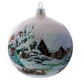 Weihnachtsbaumkugel aus Glas Grundton Weiß Motiv schneebedecktes Dorf 100 mm s1