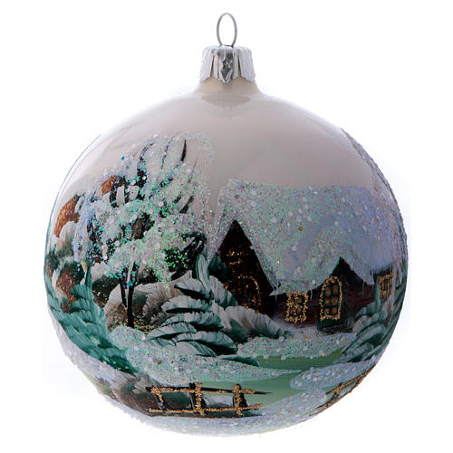 Weihnachtsbaumkugel aus Glas Grundton Weiß Motiv schneebedecktes Dorf 100 mm 1
