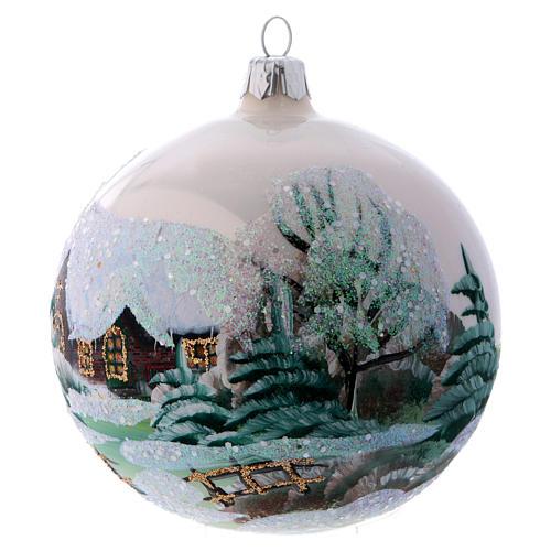 Weihnachtsbaumkugel aus Glas Grundton Weiß Motiv schneebedecktes Dorf 100 mm 2