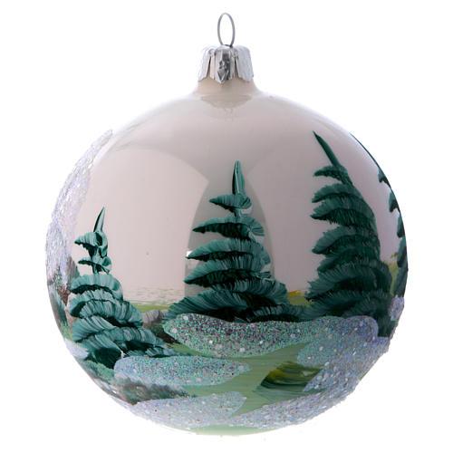Weihnachtsbaumkugel aus Glas Grundton Weiß Motiv schneebedecktes Dorf 100 mm 3