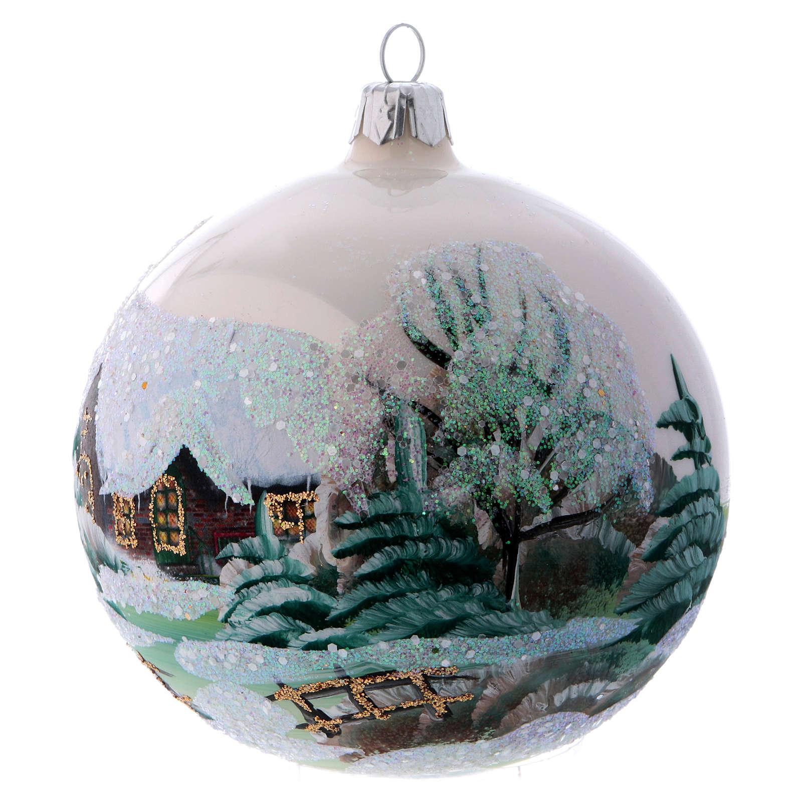 Décoration sapin Noël 100 mm blanc et strass 4