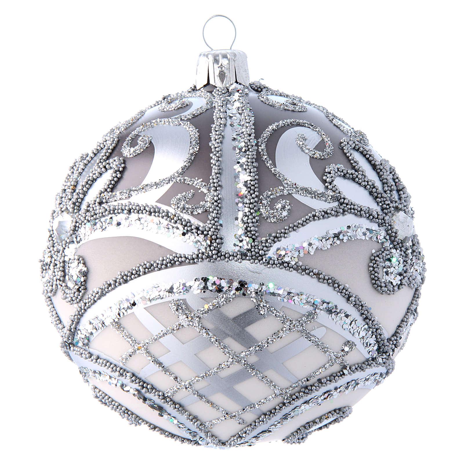 Pallina Albero Natale argento 100 mm vetro soffiato 4