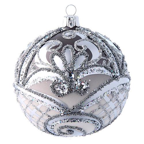 Pallina Albero Natale argento 100 mm vetro soffiato 1