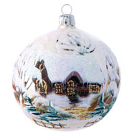 Weihnachtsbaumkugel aus mundgeblasenem Glas Grundton Weiß matt Motiv schneebedeckte Winterlandschaft 100 mm s1