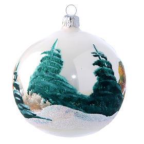 Weihnachtsbaumkugel aus mundgeblasenem Glas Grundton Weiß matt Motiv schneebedeckte Winterlandschaft 100 mm s2