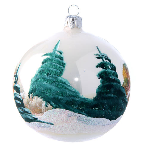 Weihnachtsbaumkugel aus mundgeblasenem Glas Grundton Weiß matt Motiv schneebedeckte Winterlandschaft 100 mm 2