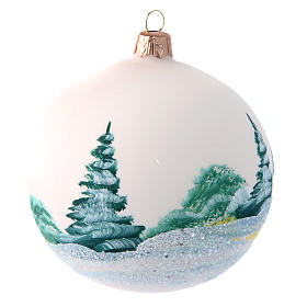 Opaque white painted glass Christmas ball 100 mm s2