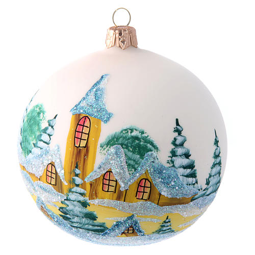 Opaque white painted glass Christmas ball 100 mm 1