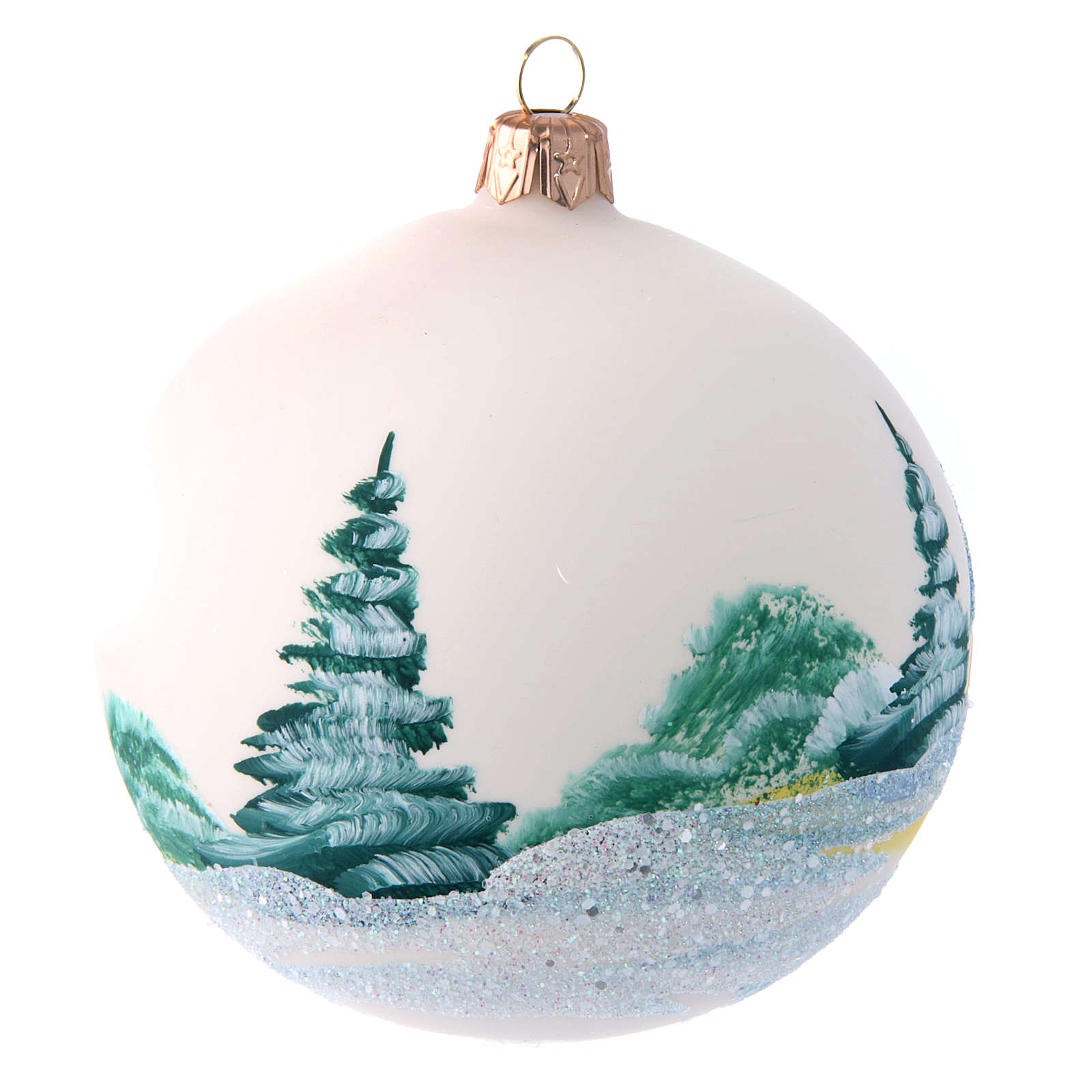 Opaque white painted glass Christmas ball 100 mm 4