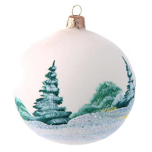 Opaque white painted glass Christmas ball 100 mm 2
