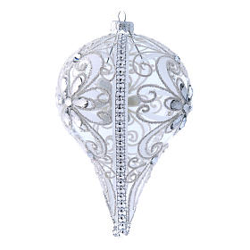 Pallina vetro a goccia decoro bianco h. 150mm s3