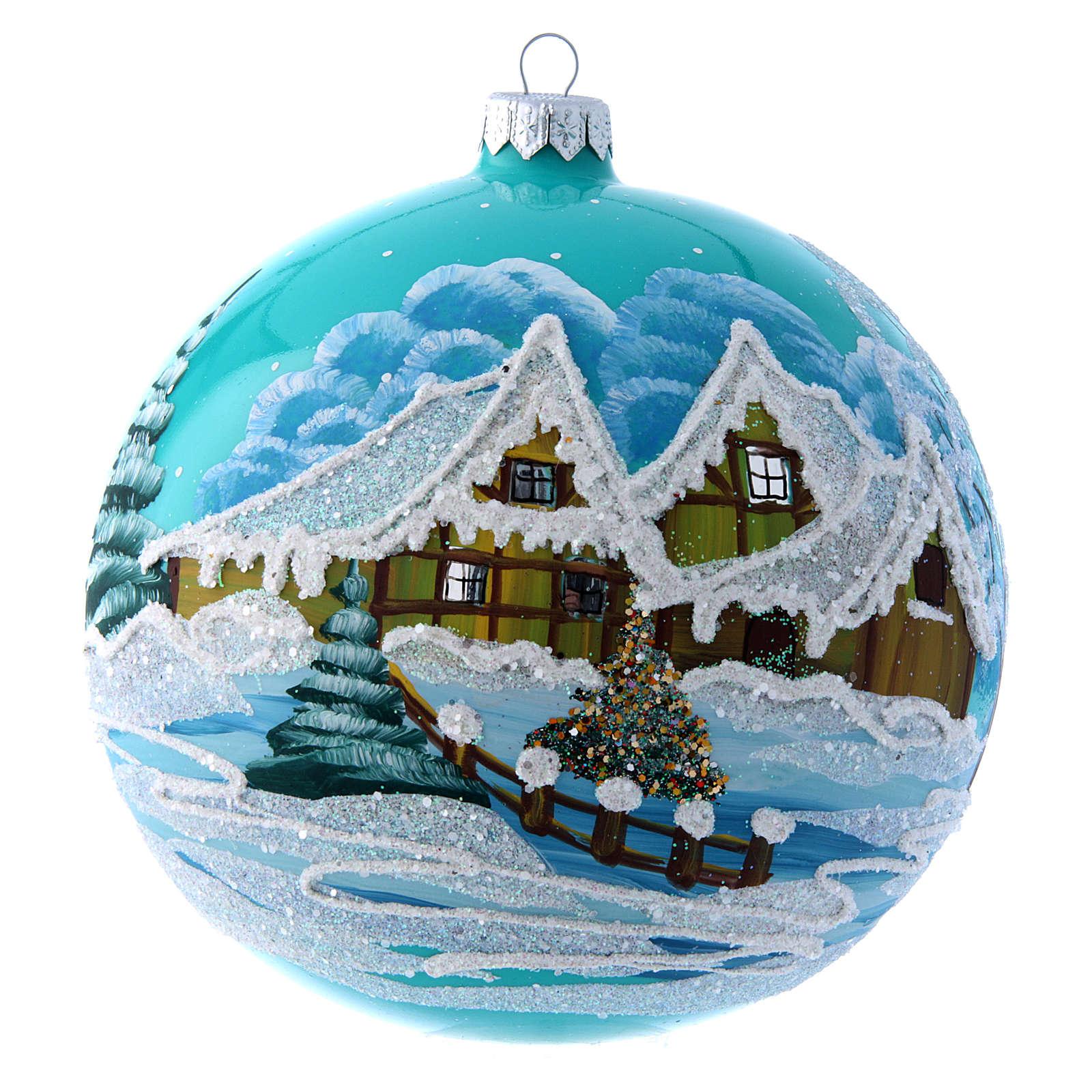 Boule Noël 150 mm bleu paysage enneigé 4
