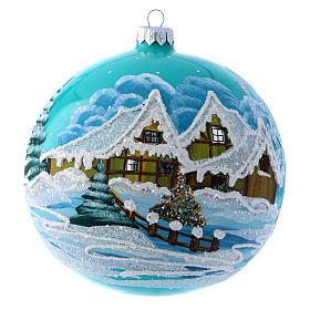 Boule Noël 150 mm bleu paysage enneigé s1