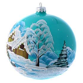 Boule Noël 150 mm bleu paysage enneigé s2
