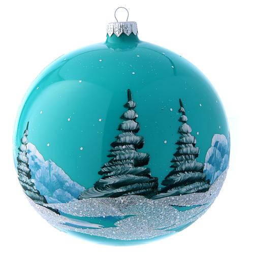 Boule Noël 150 mm bleu paysage enneigé 3