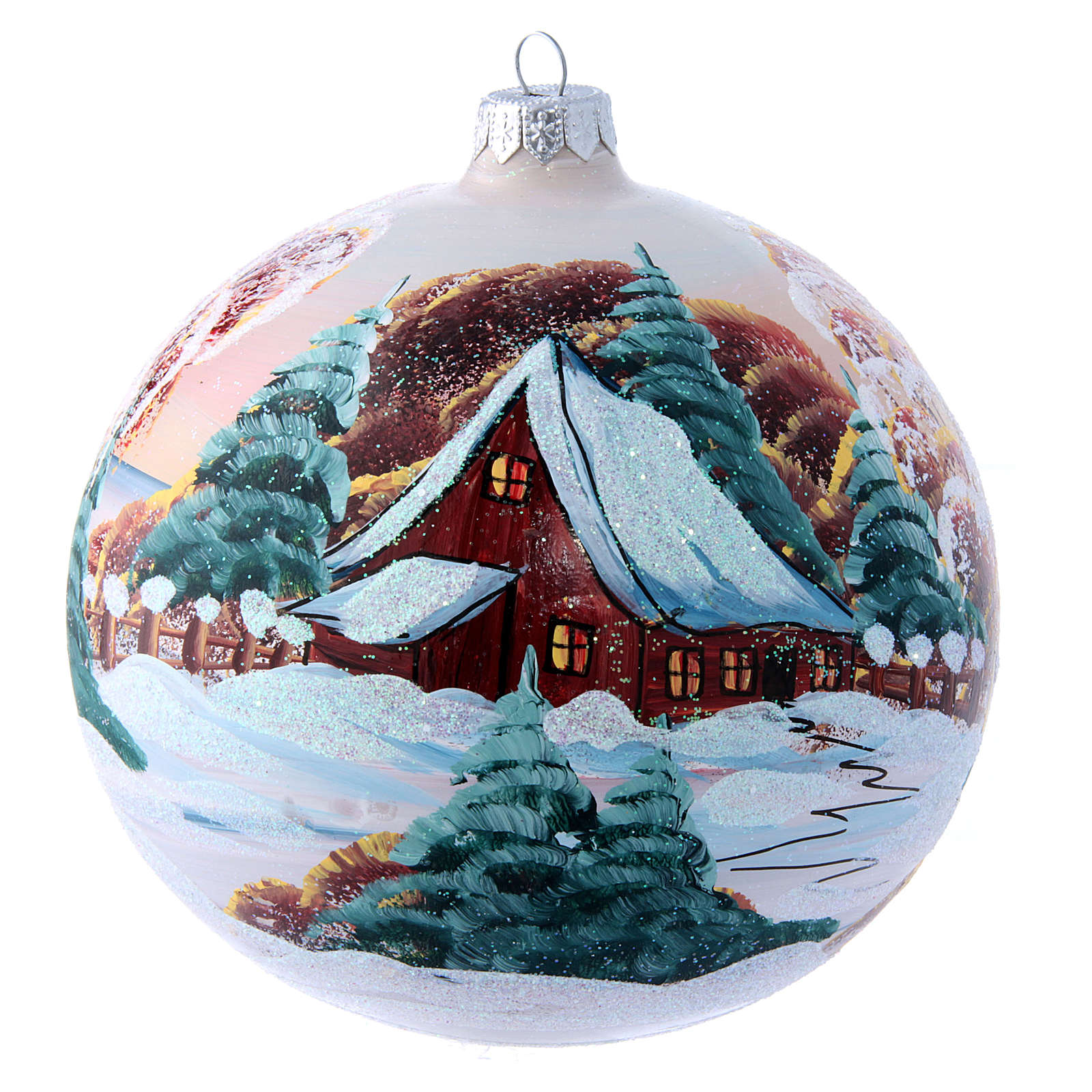 Glass Christmas ball with mountain chalet illustration 150 mm 4