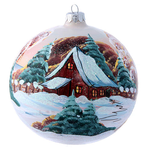 Glass Christmas ball with mountain chalet illustration 150 mm 1