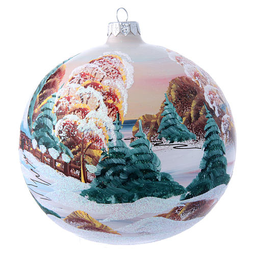 Glass Christmas ball with mountain chalet illustration 150 mm 2