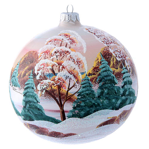 Glass Christmas ball with mountain chalet illustration 150 mm 3