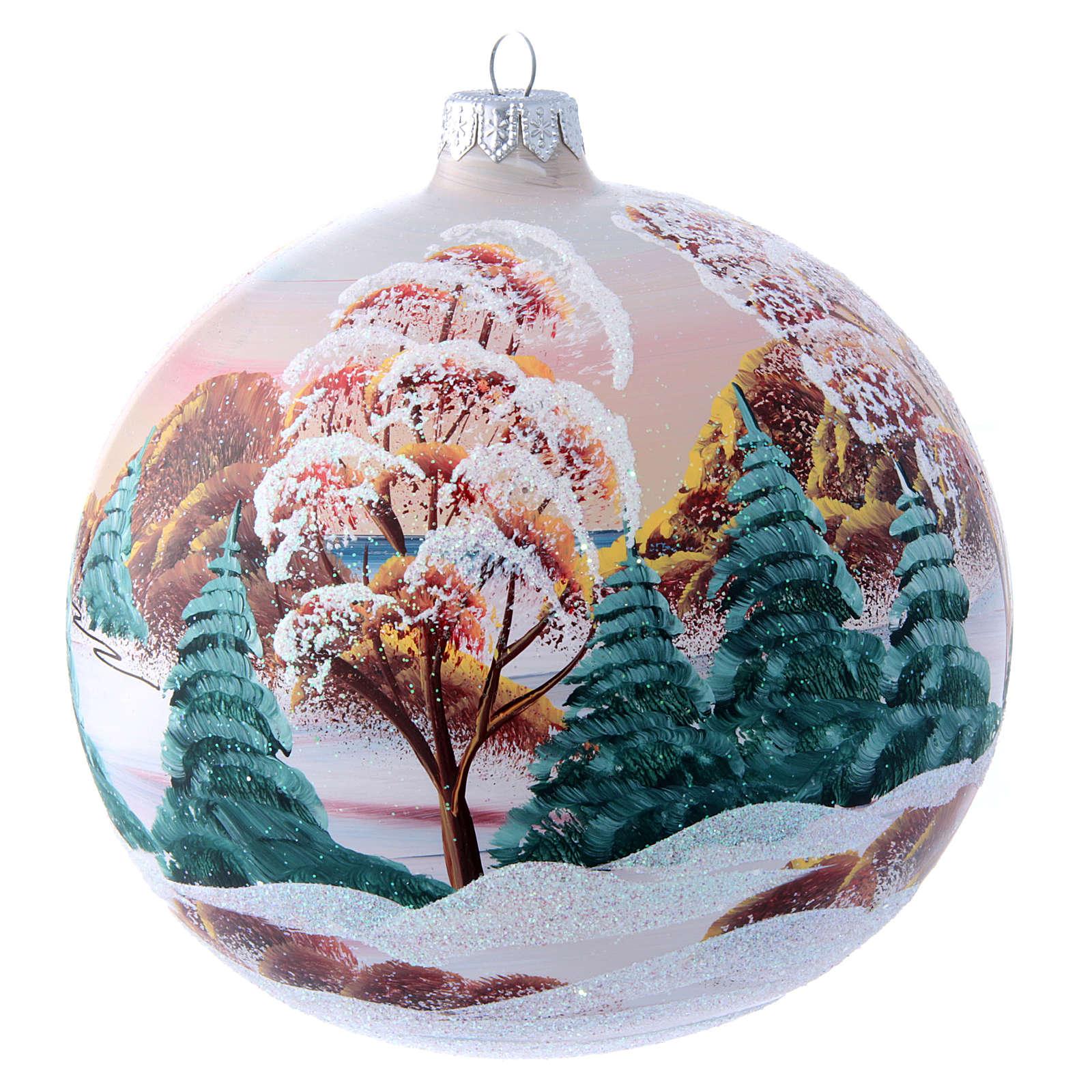 Palla natalizia vetro chalet di montagna 150 mm 4