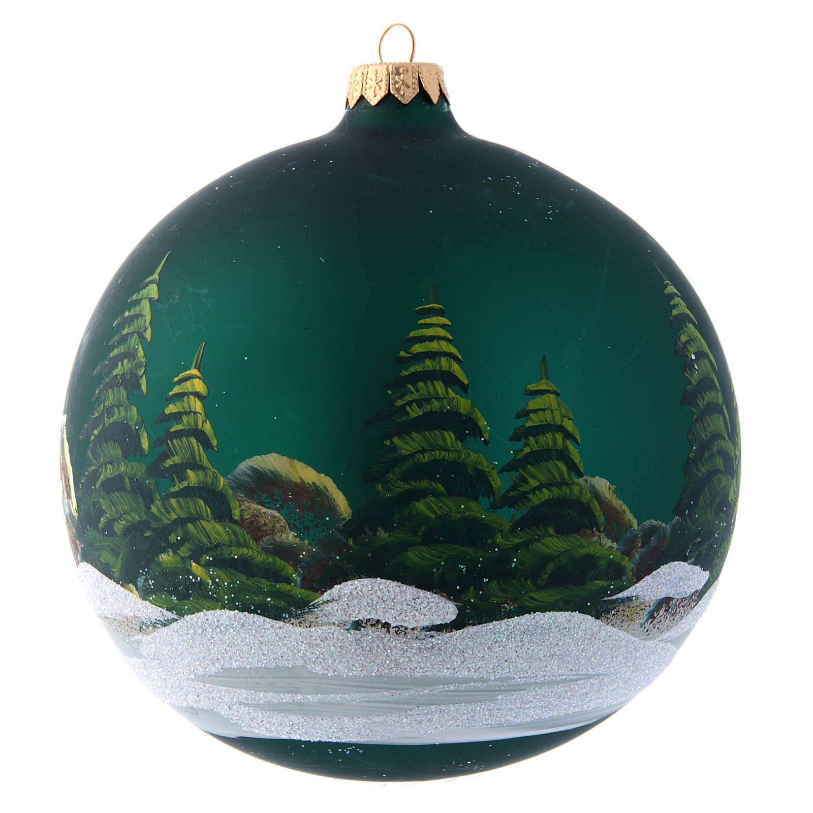 Green glass Christmas ball with painted and decoupage decoration 150 mm 4