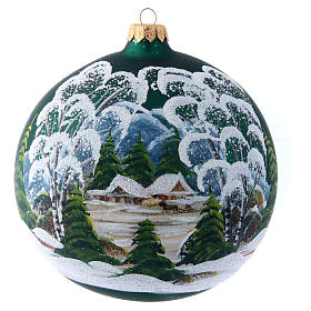 Green glass Christmas ball with painted and decoupage decoration 150 mm s1
