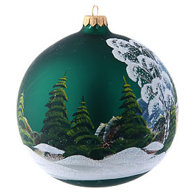 Green glass Christmas ball with painted and decoupage decoration 150 mm s3