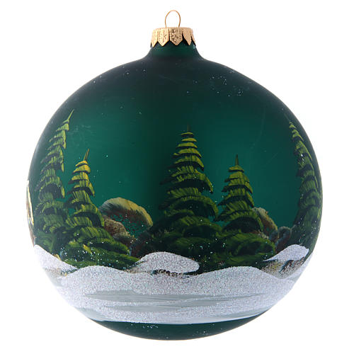 Green glass Christmas ball with painted and decoupage decoration 150 mm 2