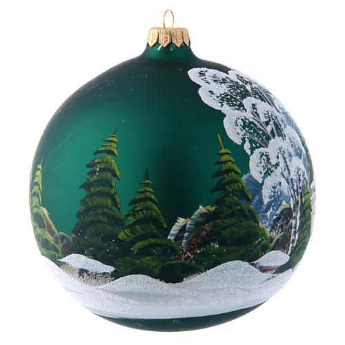 Green glass Christmas ball with painted and decoupage decoration 150 mm 3