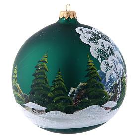 Bola Árbol de Navidad 150 mm verde decoración pintada y decoupage s3