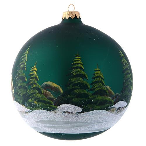 Bola Árbol de Navidad 150 mm verde decoración pintada y decoupage 2