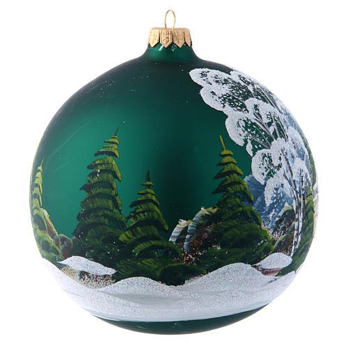 Bola Árbol de Navidad 150 mm verde decoración pintada y decoupage 3