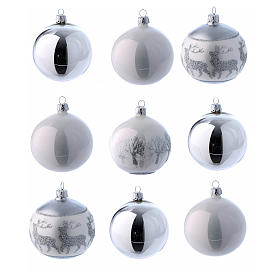 Palline vetro lucide bianco e argento 80 mm scatola 9 pz s1