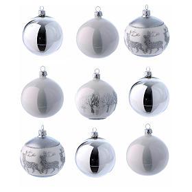 Palline vetro lucide bianco e argento 80 mm scatola 9 pz s2