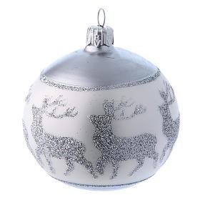 Palline vetro lucide bianco e argento 80 mm scatola 9 pz s3
