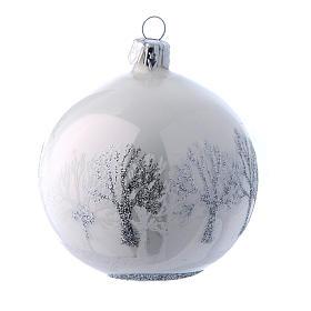 Palline vetro lucide bianco e argento 80 mm scatola 9 pz s4