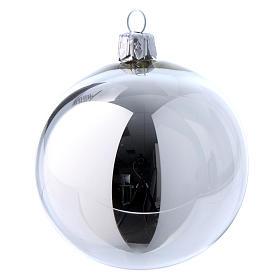 Palline vetro lucide bianco e argento 80 mm scatola 9 pz s6