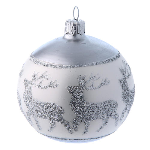 Palline vetro lucide bianco e argento 80 mm scatola 9 pz 3