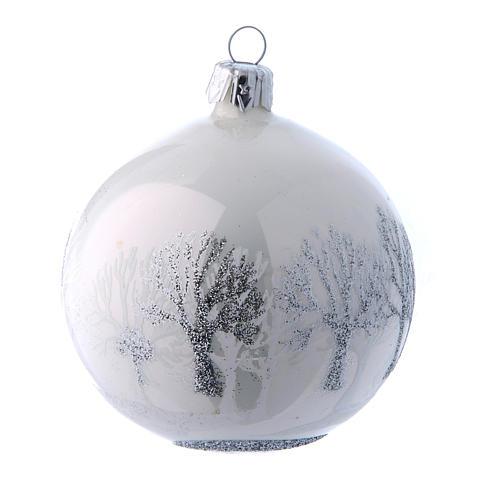 Palline vetro lucide bianco e argento 80 mm scatola 9 pz 4