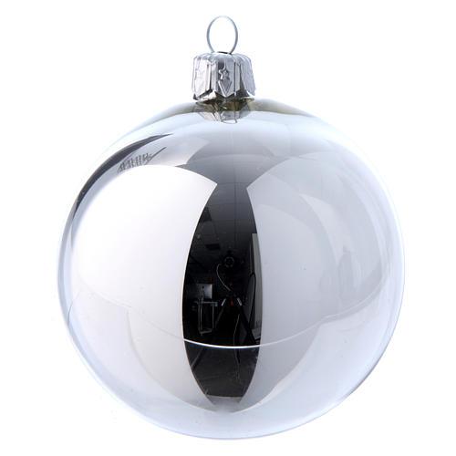 Palline vetro lucide bianco e argento 80 mm scatola 9 pz 6