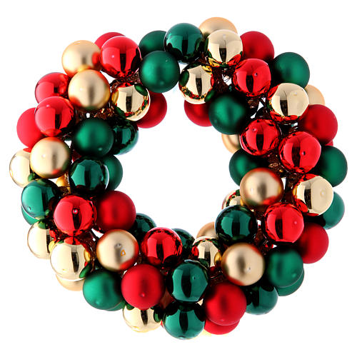 Christmas garland of glass balls red gold and green 30 cm 3
