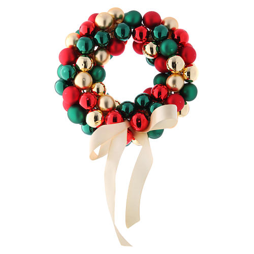 Christmas garland of glass balls red gold and green 30 cm 1