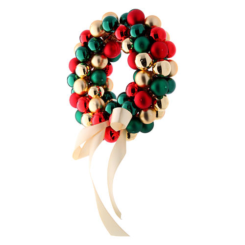Christmas garland of glass balls red gold and green 30 cm 2